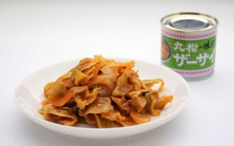 味付ザーサイ豆缶皿盛り